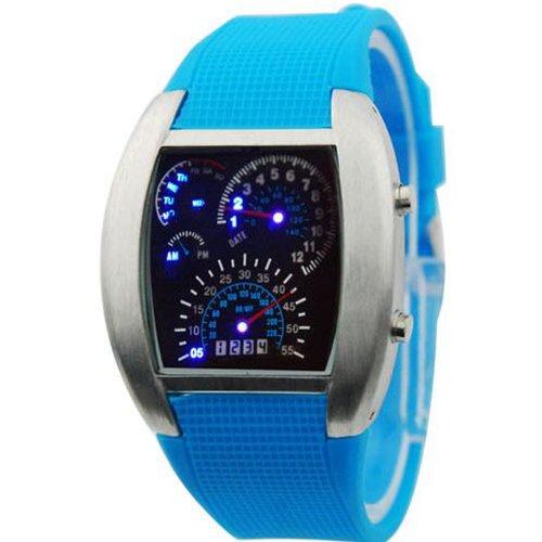 Blue LED Light Aviation Pilot Speedometer Dash Men's Digital Binary Wrist Watch (Silver Case and Light Blue Watchband)