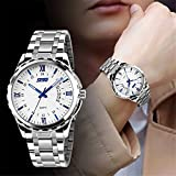 Fashion Calendar Mens Quartz Waterproof Business Casual Stainless Steel Band Wrist Watch White Blue
