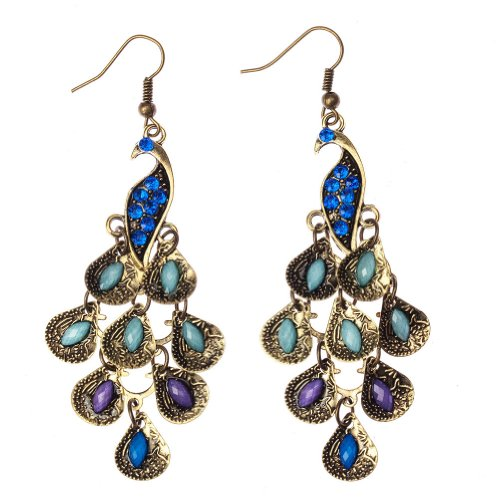 Pair / Set of Vintage Style Bronze Fashion Crystal Peacock Earrings By VAGA®