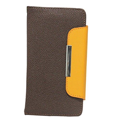 Jo Jo Z Series Magnetic High Quality Universal Phone Flip Case Cover Stand For Htc Desire 816G Dual Sim Dark Brown Orange