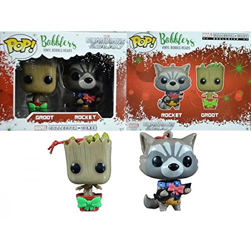 Groot and Rocket Pop Bobblers Hanging Christmas Ornaments Marvel Collectors Corp Exclusives (Guardians Of The Galaxy For Sale)