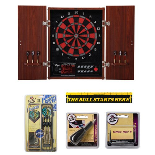 Viper Neptune Dartboard Cabinet With Blazer Soft Tip Darts And Accessory Set