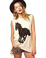 Efashionmx Womens Horse Racing T-shirt Tops (Large) at