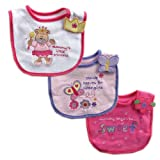 Luvable Friends 3-Pack Side-Closure, Applique & Embroidery Baby Bibs, Girl Set $5.99