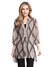 M&S Collection Zig Zag Animal Print Dippy Hem Blouse