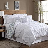 Geneva Home Fashion 8-Piece Ella Pinch Pleat Comforter Set, King, White
