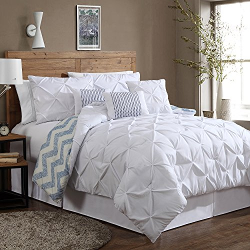 Geneva Home Fashion 7-Piece Ella Pinch Pleat Comforter Set, , White
