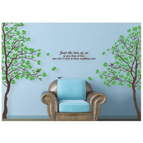 Reusable/removable Decoration Wall Sticker Decal  Huge Brown Tree & Birds, Poem 80H*70W