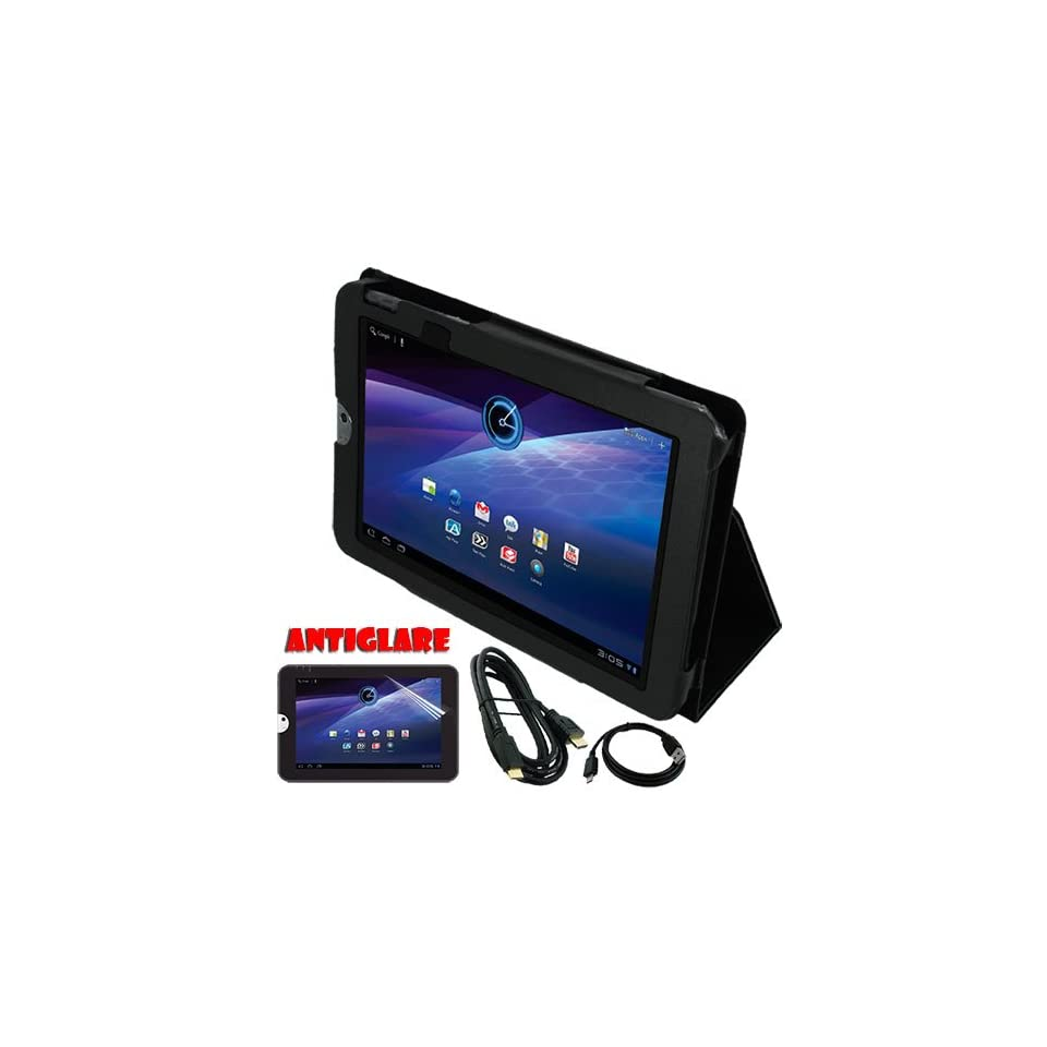 Skque®Premium Anti glare Screen Protector + Black Leather Case w/Stand + Micro USB Data Cable + HDMI Cable 6 feets for 10.1 Inch Toshiba Thrive Tablets