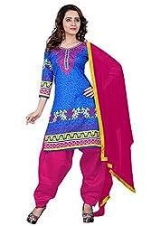 BanoRani Blue & Rani Color Cotton Printed Patiala Unstitched Dress Material