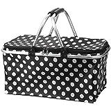 Picnic Basket Bag, Iwotou Insulated Folding Cooler Picnic Basket Bag (black)