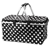 Picnic Basket Bag, Iwotou Foldable Insulated Cooler Picnic Basket Bag (black)