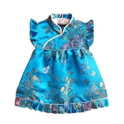 Buenos Ninos Girls Short Sleeve Cheongsam Baby Qipao Patterned Cloth Set Blue Peony M