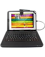 Etui aspect cuir noir + clavier intégré et port de maintien pour tablette Archos Arnova 101 XS Gen 10, 10b & 10c G3 et 101 G4 de 10,1 pouces+ stylet tactile BONUS