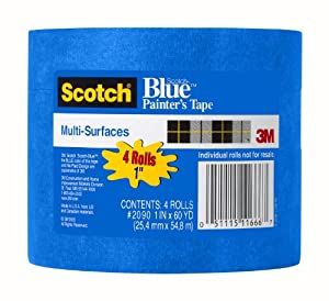 3M ScotchBlue Painter's Tape for Multi-Surfaces, 1-Inch by 60-Yard, 4-Pack