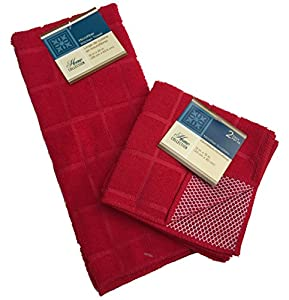 Microfiber Dish Towel Dish Rag Pack of 3 Dish Towel & Dish Rags Set Red Kitchen Cleaning Supplies Kitchen Accessories Microfiber Cleaning Cloth Dish Washing Cleaning Supplies