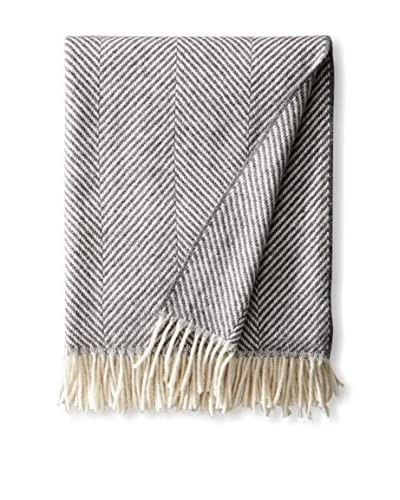 Foxford Merino Giant Herringbone Throw, Grey/White