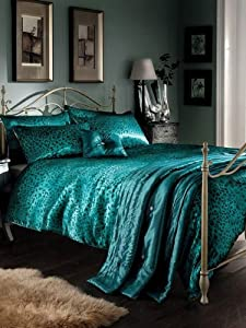 Teal Leopard Print Satin King Duvet Cover, Bedspread, Cushion & 2 Pillowcases by T & A