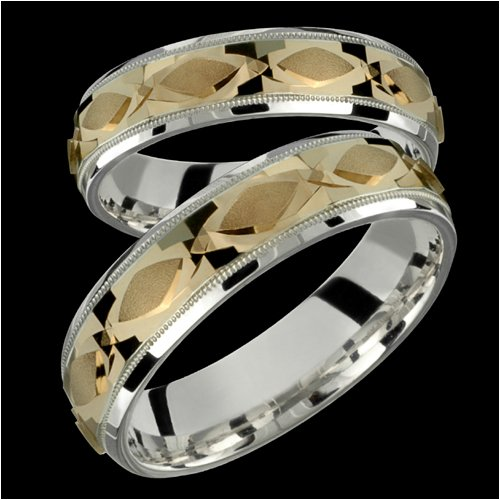 Isla &#8211; Elegant Two Tone Comfort Fit Wedding Bands for Him &#038; Her! Custom Made!