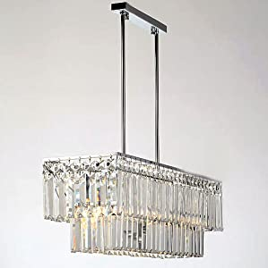 Modern Dining Room Crystal Pendant Light 65 19 62cm Rectangle Po