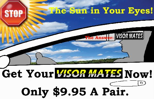 1 Pair Black 5 X 12 Visormates Sun Visor Extenders