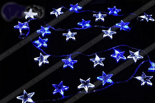 Gorgeouseve 10M(33Ft) 100 Beautiful Blue With White Led Lights Star Shape Quiet Feeling String Lights Xmas Decorations For Wedding Holiday And House With 110V Plug