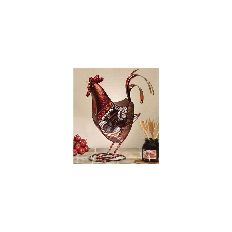 Deco Breeze DBF0360 Rooster Figurine Portable Fan, Red