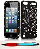 Accessory Factory(TM) Bundle (the item, 2in1 Stylus Point Pen) iTouch 5 FULL DIAMOND Silver Butterfly on Black Case Cover Protector Stylish Full Diamond Bling Design Snap On Hard Faceplate Shell