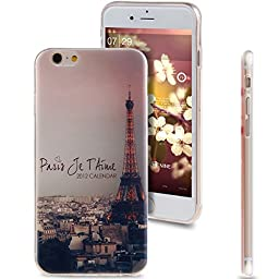 iPhone 6S Case,Case for iPhone 6S,ikasus Fashion Style Colorful Painted Clear Bumper TPU Soft Case Cover Protector Skin For Apple iPhone 6 6S(4.7 Inch)(2014/2015),The Eiffel Tower Paris
