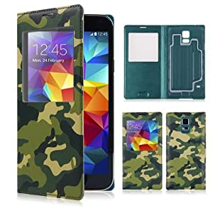 For Samsung Galaxy S 5 i9600 View Window Flip Camouflage PU Leather Case Cover