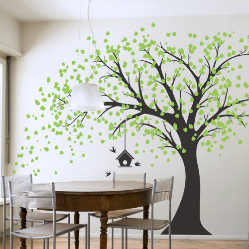 Large windy tree with birdhouse wall decal for Amazon wall mural