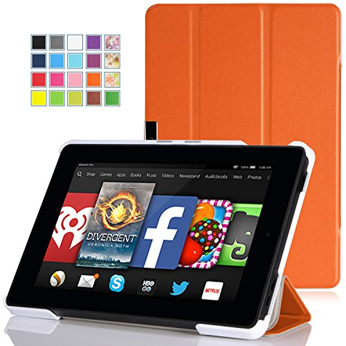MoKo Amazon Kindle Fire HD 7 2014 Case - Ultra Slim Lightweight Smart-shell Cover Case for Amazon Kindle Fire HD 7 Inch 2014 Tablet, ORANGE (With Smart Cover Auto Wake / Sleep)