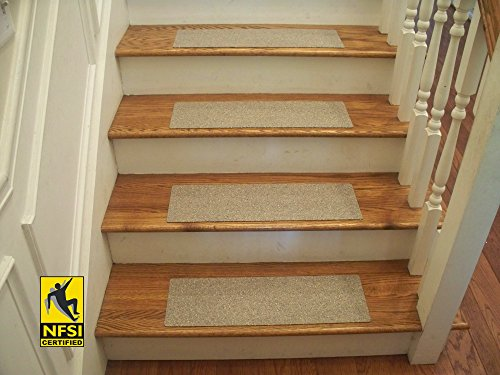 Essential Vinyl Stair Treads - NFSI Certified High Traction Surface (Slip Resistant), Peel and Stick - An alternative to carpet stair treads - Many color options! (15, Greige (510))
