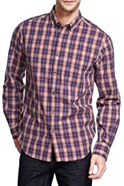 Pure Cotton Easy Care Checked Shirt [T25-8349M-S]