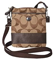 Hot Sale Coach Signature Stripe Swingpack 47720 SV/Khaki/Mahogany