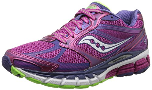 Saucony Women's Guide 8 Road Running Shoe, Berry/Purple/Slime, 10 M US