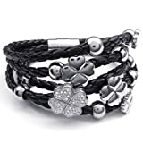 Konov Jewellery Women's Clover Charms Braided Leather Bracelet, Bangle, Colour Silver Black (with Gift Bag)