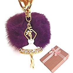 Elesa Miracle Girl Women Fur Ball Rhinestone Ballerina Keychain, Ballet Dancing Girl Handbag Accessories, Car Key Chain Rings Gift Pack (Purple)