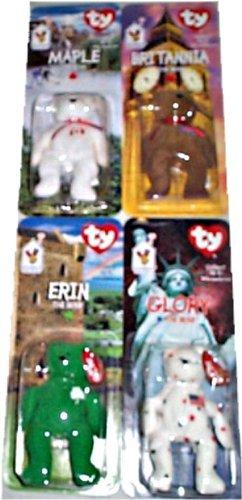 Ty/McDonalds - Set of 4 Teenie Beanie Bears: 1) Erin (Irish), 2) Glory (USA/American), 3) Brittania (British) and 4) Maple (Canadian) - 1