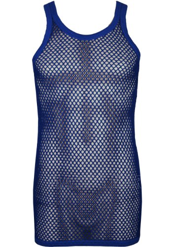 Mens String Vest Pure Cotton fitted Muscle Fishnet Vest (Large, Navy)