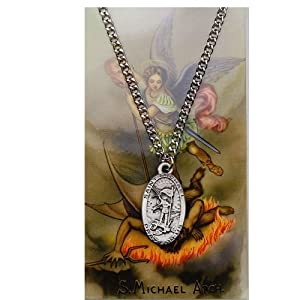 the Archangel Medal and Chain with Prayer Card. Catholic Patron