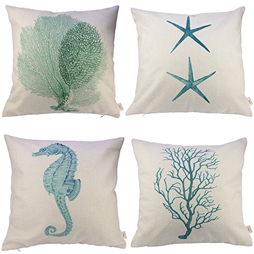 hosl-cotton-and-linen-starfish-seahorse-coral-branch-4-pcs-decorative-pillow-cover-case-about-18-x-1