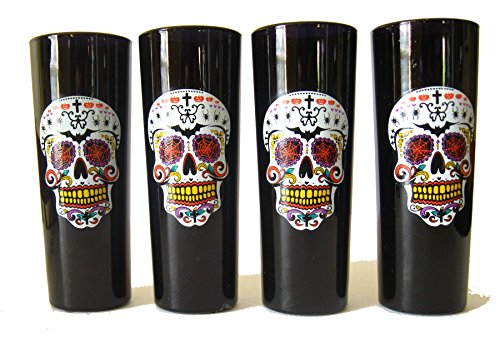 TMD Sugar Skulls Halloween - Day of The Dead Tall Shooters Set of Four Glasses 2 OZ (Homemade Halloween Costumes Ideas 2015)
