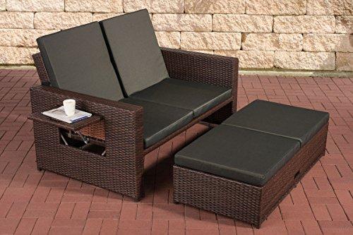 CLP-flexibles-Poly-Rattan-2er-Lounge-Sofa-ANCONA-ALU-Gestell-ausziehbares-Futeil-7-Farben-3-Rattan-Strken-whlbar-inkl-Auflagen-Rattan-Farbe-braun-meliert-Strke-125-mm-Bezugfarbe-Anthrazit