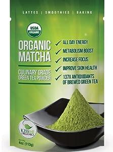 Matcha Green Tea Powder - ORGANIC - All Day Energy - Green Tea Lattes - Smoothies - Matcha Baking - Superior Antioxidant Content - Improved Hair & Skin Health- Exclusive to Amazon