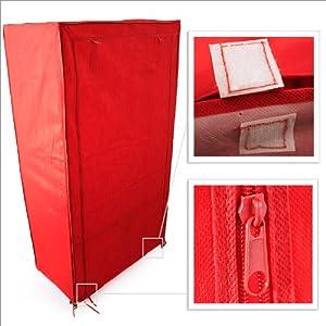 Armadio tessuto guardaroba 90 x 46 x 160 cm colore rosso for Armadio in tessuto
