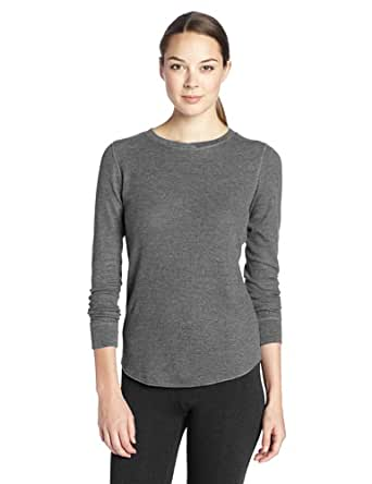 Cuddl Duds Women's Thermal Long Sleeve Top, Charcoal Heather, Large