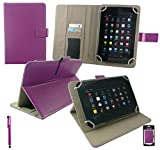 Emartbuy® Purple Stylus + Universal Range Plum PU Leather Multi Angle Executive Folio Wallet Case Cover With Card Slots Suitable for Advent Vega Tegra Note 7 Inch Tablet