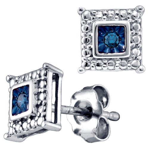 Blue Diamond Earrings Studs Square Fashion Sterling Silver (0.05 ct.tw)