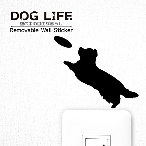 ウォールステッカー DOG LIFE 「ボーダーコリー (フリスビー)」